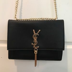 Black medium sized crossbody chain purse